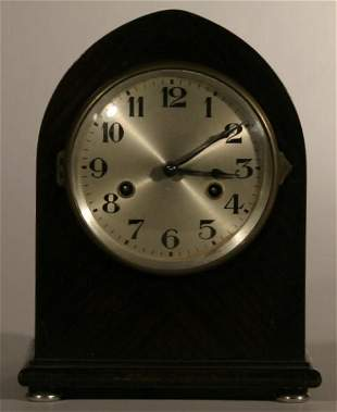 Steeple case clock with 8-day time/strike movement