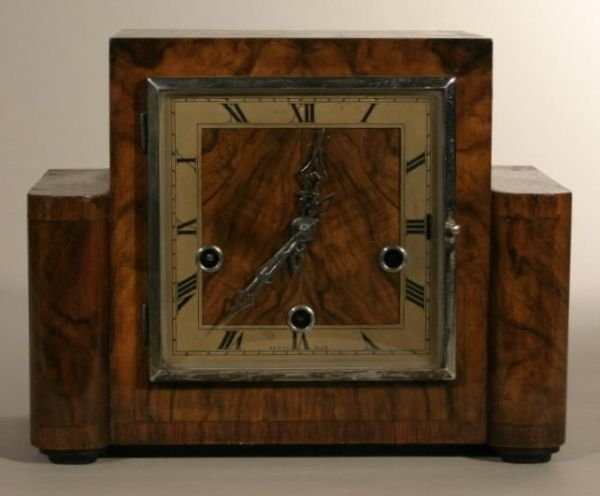 3: Smith/Enfield Art Deco wood case mantle clock