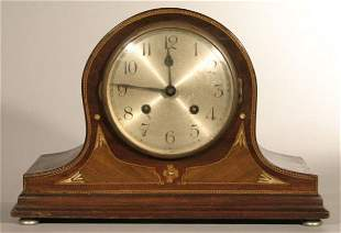 Tambour shelf clock with inlaid case, Germany c.1