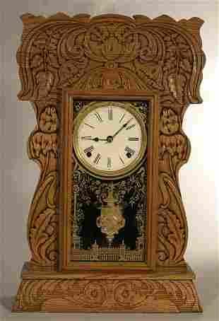 """Pressed oak """"Gingerbread"""" case shelf clock, with"""