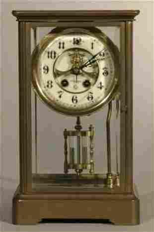 "Gilbert crystal regulator mantle clock, 10.5""h x"