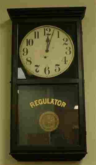 Sessions regulator wall clock, c. 1920, 35.75'h x