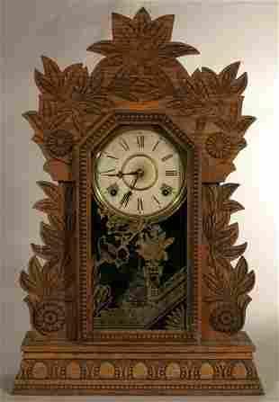 "Willim L. Gilbert ""Laurel #3"" shelf clock with pr"