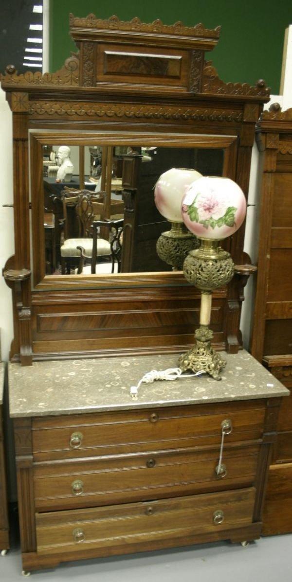 97: Eastlake walnut 3 piece bedroom set. Marble top d