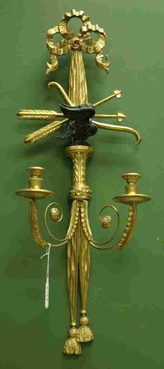 Pair of Louis XVI style giltwood 2 light sconces,