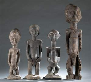 4 D.R. Congo Style Wooden Figures. 20th c.