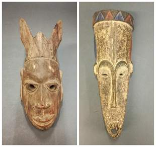 2 African Style Masks 20th c