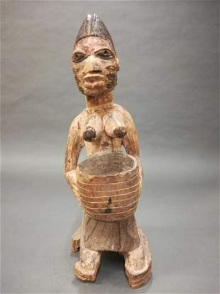 Yoruba Style Figure with Bowl 20th c