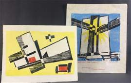 Werner Drewes. 8 Christmas/Greeting Cards. 1974-83