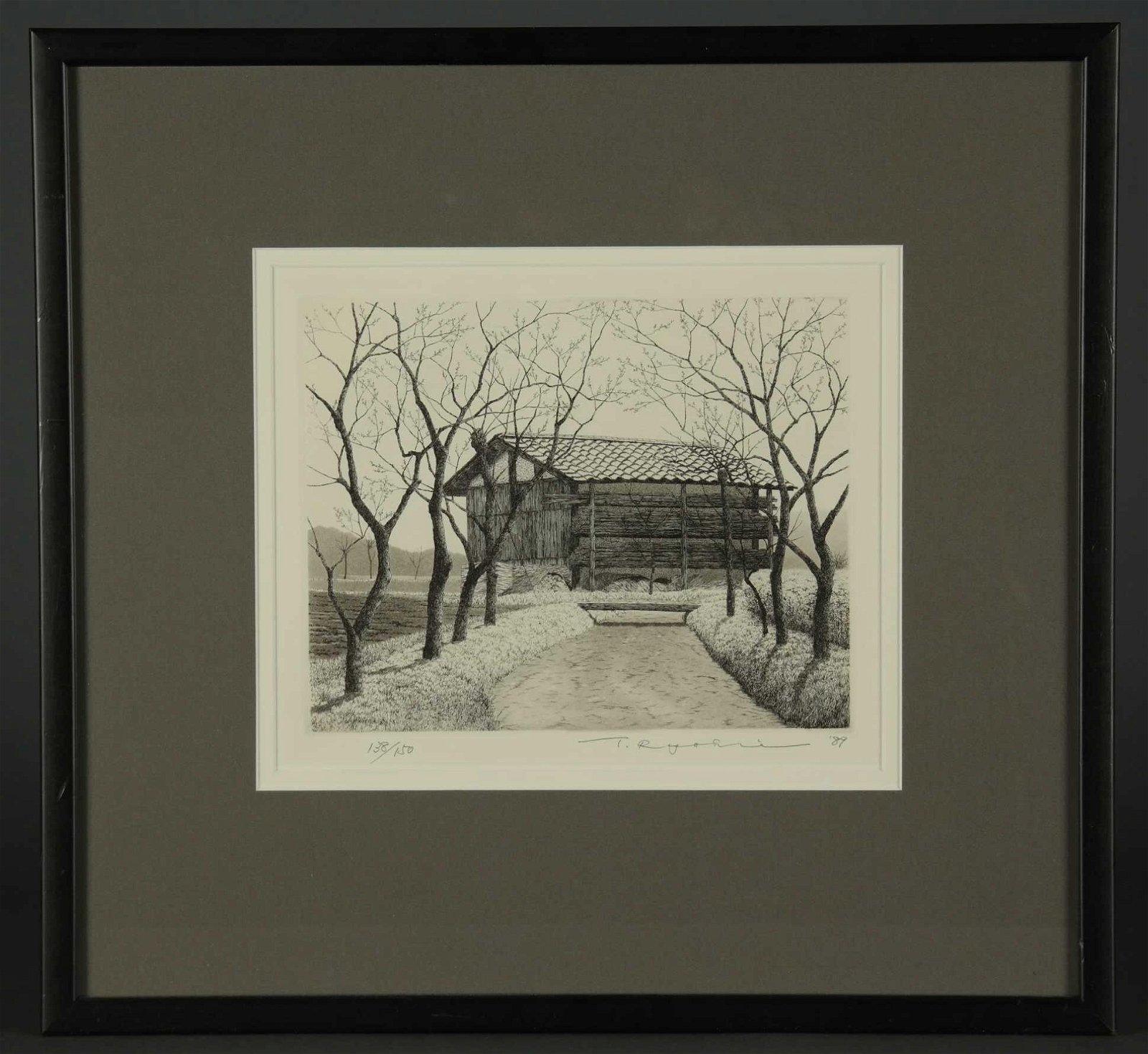Ryohei Tanaka. 4 etchings. Roofs. 1980s/90s.