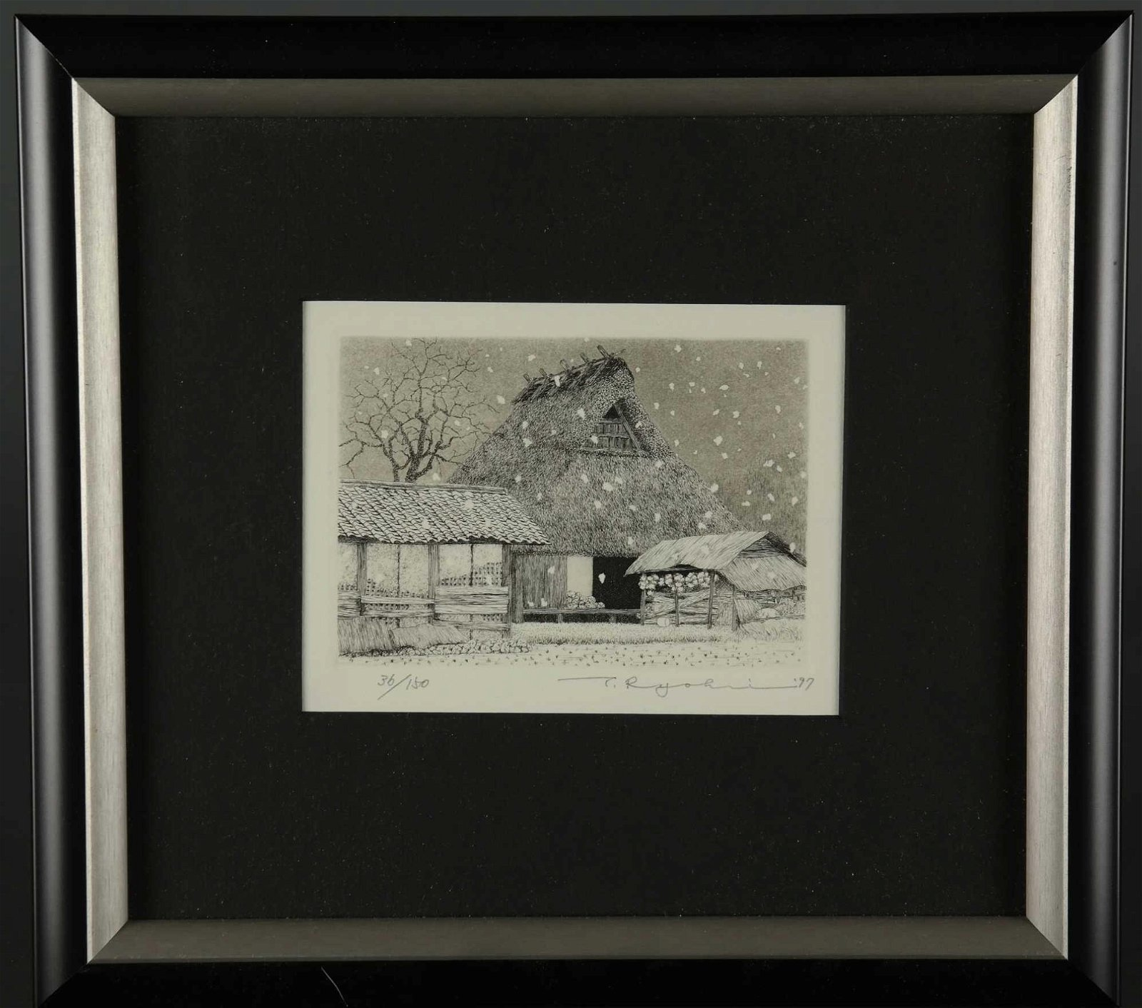 Ryohei Tanaka. 4 etchings. Roofs and Snow. 80s/90s