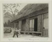 Ryohei Tanaka. 4 etchings. Roofs and Trees.