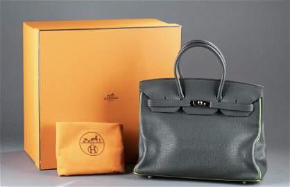 Herm�s Birkin 35, Vert Fonce Anis handbag.