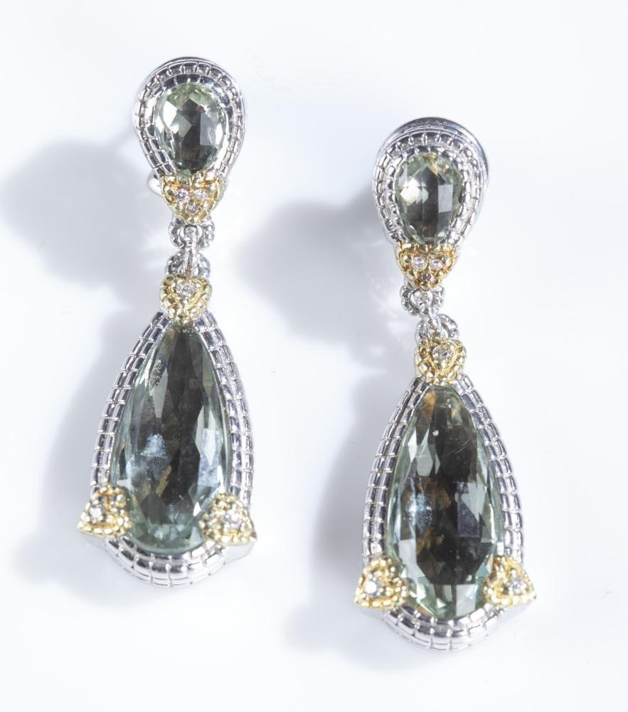 Judith Ripka, sterling and prasiolite earrings.