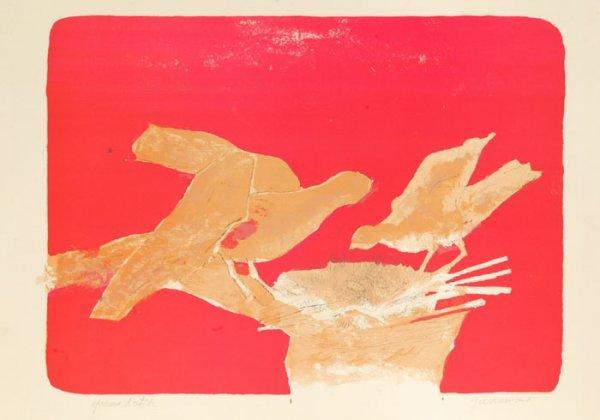 9: Paul Guiramond, 2 color lithographs of birds.