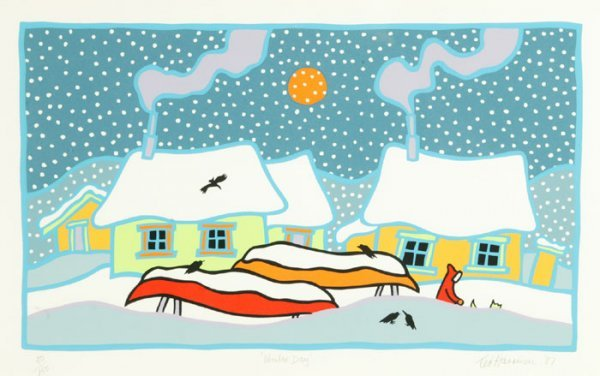 12: Ted Harrison, ''Winter Day,'' 1987, #50/150.