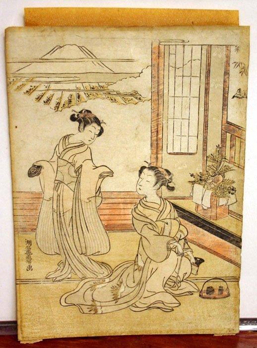 14A: Koryusai Isoda (1735-90): Color woodcut of 2 women