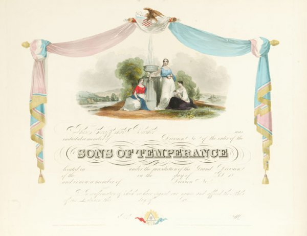 18: Sons of Temperance cerificate w/ engraving (1846).