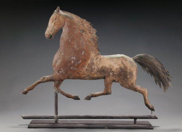 91: Blackhawk horse copper weathervane Cushing & White