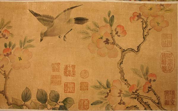 425: Chinese painted scroll birds branches ink w/c