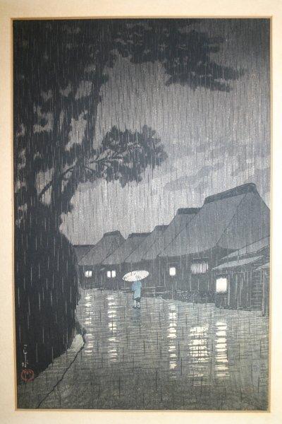 10A: Hasui Kawase: Rainy Night at Maekawa woodblock pri