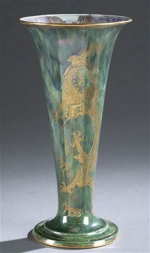 Wedgwood lustre, Dragon trumpet vase.