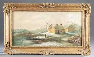 J Morris Winter Cottage 19th c OC