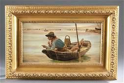 American School, Boy Fishing, 19th c., O/C.