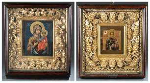 2 Russian Icons with kiots 19th20th c