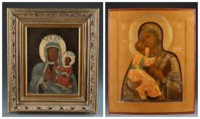 2 Mother of God Russian Icons, 18th/19th c.