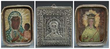 3 Miniature Russian Icons 19th20th c