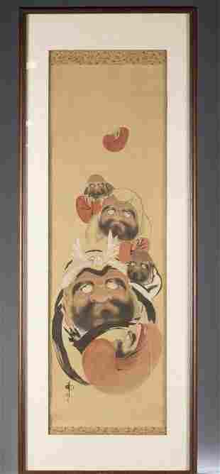Framed Japanese scroll painting of Daruma