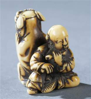 Netsuke of two entertainers 19th c