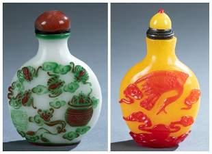 2 Peking glass overlay snuff bottles