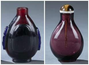 2 Glass snuff bottles