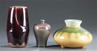 3 Chinese drip glaze ceramic vases.