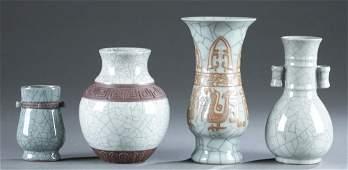 4 Chinese Ge style crackle glaze vases, 20th c.