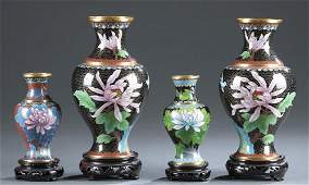 4 Chinese cloisonne vases.