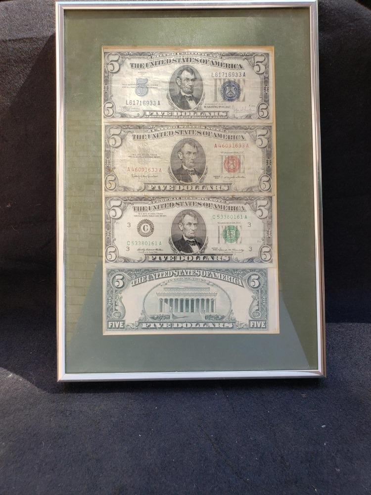 2 Framed Sets of $5 Bills
