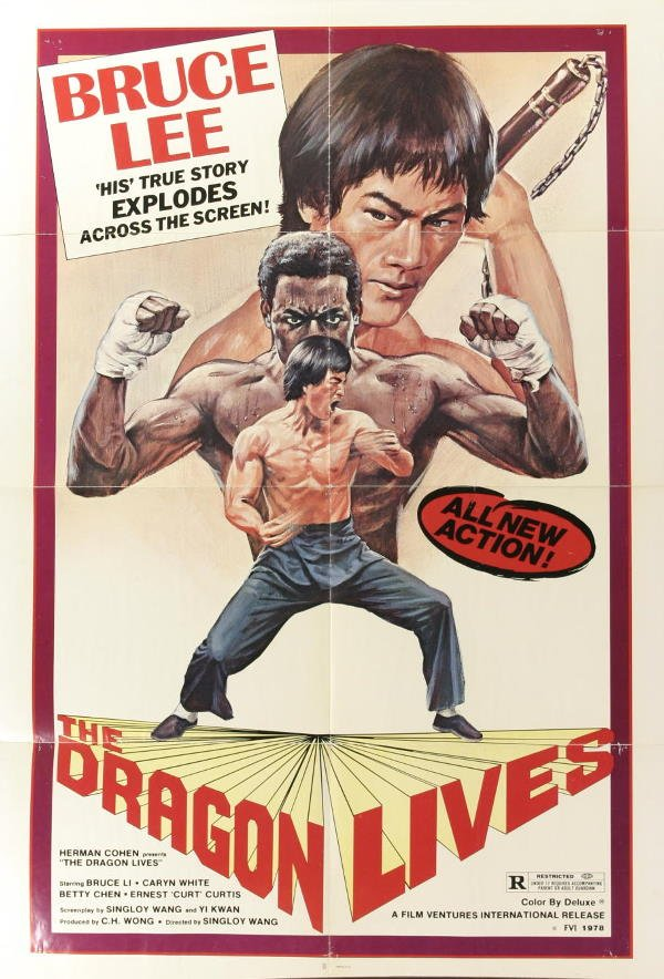 1023: Bruce Lee, Poster. The Dragon Lives, 1978, folded