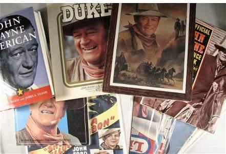 1093: John Wayne, 100+ Items. Advertisements, clippings