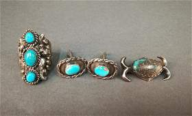 3 Pieces of Southwestern Style Turquoise Jewelry.