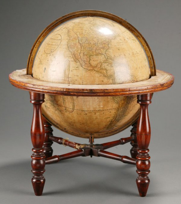 1436: 1859 color globe, w/ ring of astrological signs.