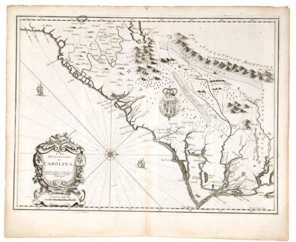 1531: John Speed, A New Description of Carolina, 1676