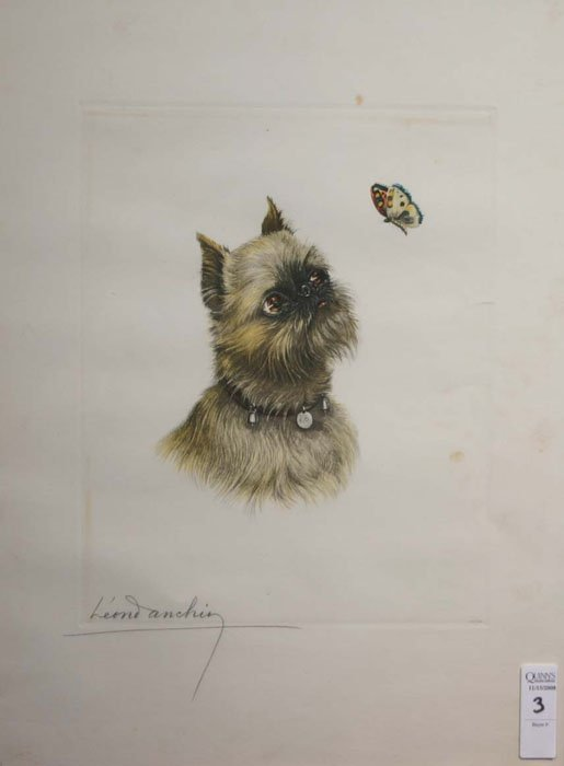 3: Leon Anchin, dog watching a butterfly, #250 of 600