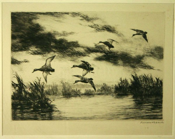 22: Roland Clark: Etching of flight over marsh, signed