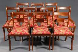 167 10 Regency style dining chairs w brass inlay
