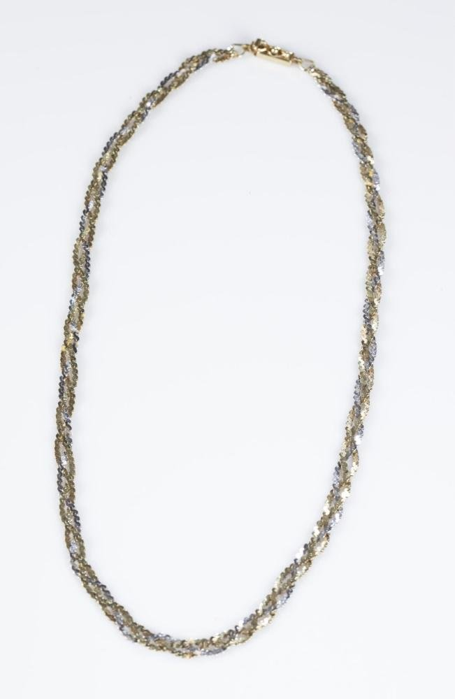 14k Gold braided chain necklace.