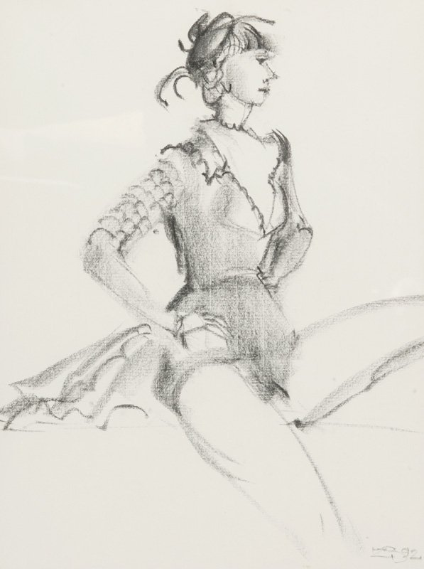 3114: C. Szczepanski 2 charcoal drawings Boy Ballerina