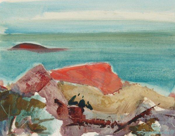 3116: C. Szczepanski Oil on paper Red rock on the ocean